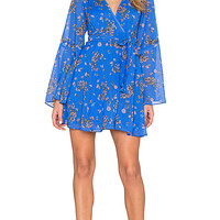 Free People Lilou Printed Dress in Cobalt Combo