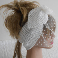 Hair Band, Hair Bands Tulle, White Hair Band, Accessories, Women's Fashion, Knitting Headband, White Veil, White Spotted Veil, Scarf