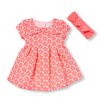 Baby Girls Short Sleeve Jacquard Daisy Pleat Neon Dress And Bloomers Set   The Children's Place