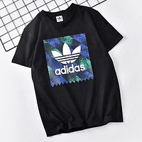Adidas Clover Fashion Men Comfortable Print Round Collar T-Shirt Top Blouse Black