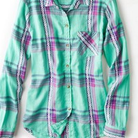 AEO 's Jaquard Plaid Shirt (Mint)