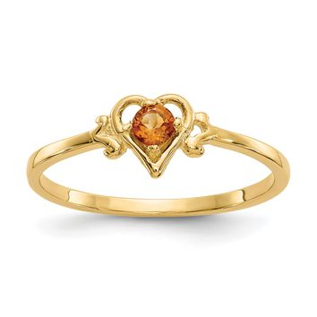 14K Yellow Gold Genuine Citrine November Birthstone Heart Ring