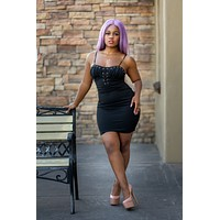 ~Life Of The Party Black Lace Up Dress
