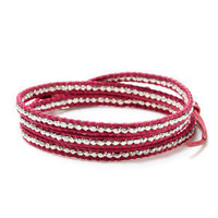 Silver Nugget & Leather Wrap Bracelet by Chan Luu - fuchsia