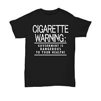 Sarcastic Funny Shirt for High School College Student Women Men Cigarette Warning