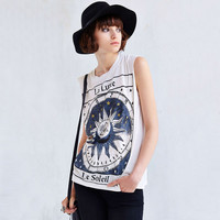 White 12 Constellations Loose Graphic Tank Top