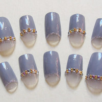 Grey Lavender, Japanese Inspired, Moonicure / Half Moon Fake Nails with Silver Glitter, White Rhinestones and Gold Beads