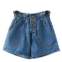 Blue Denim High Waisted Shorts