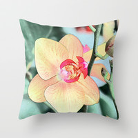 pretty yellow orchid flowers, botanical art Throw Pillow by NatureMatters