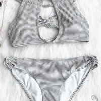 Cupshe Love More Stripe Bikini Set