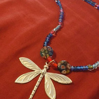 Blue Dragonfly Dreams beaded medallion necklace glass beads