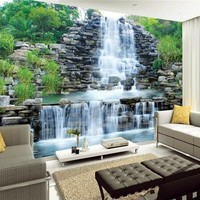 Custom 3D Photo Wallpaper Natural Mural Waterfalls Pastoral Style 3D Non-woven Straw Paper Wall Papers Living Room Sofa Backdrop