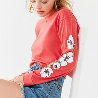 Hawaiian Flower Long Sleeve Cropped Tee | Urban Outfitters