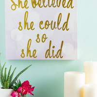 She Believed She Could Canvas Wall Decor