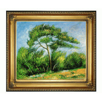 The Great Pine By Paul Cezanne: 24 X 20 Oil Painting Reproduction With Regency Gold Frame
