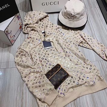 LV Louis Vuitton wind bronzing hooded pullover mid-length loose large size laser colorful printing coat