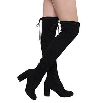ShoBeautiful Women's Thigh High Boots Stretchy Over The Knee Chunky Block Heel Boots