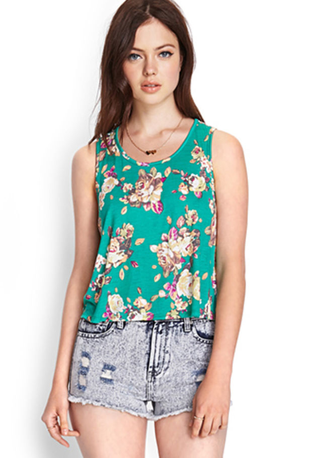 Other Girls Ex H&m Vest Tank Top Floral Print White Size Age 8 To 15 Years C08.6