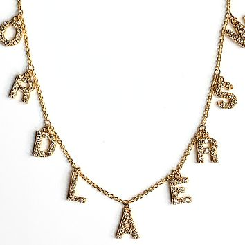 Pave Diamond Initial Necklace - 9 Letters