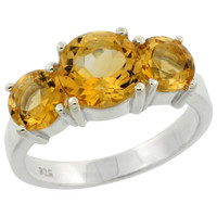 Citrine 3 Stone Ring, Sterling Silver