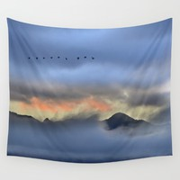 """""""Sunrise at the mountains"""". Birds in the morning. Wall Tapestry by Guido Montañés"""