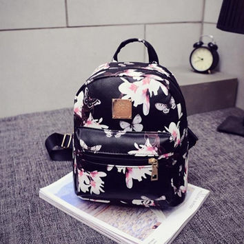 Women Backpack Causal Floral Printing Backpacks PU Leather Backpack For Teenagers Girls Mochilas CF