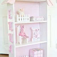 Charming cottage dollhouse bookcase - Custom bookcase for nursery or children's room - Shabby white bookcase