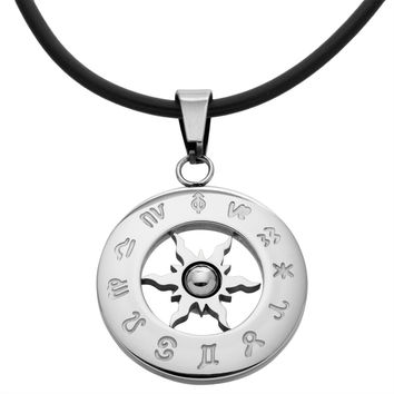 """Zodiac Horoscope Stainless Steel Pendant Cord Necklace 20"""""""