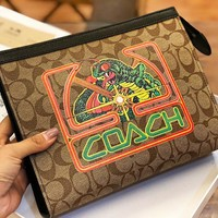 COACH New fashion pattern letter print couple cosmetic bag file package handbag Khaki