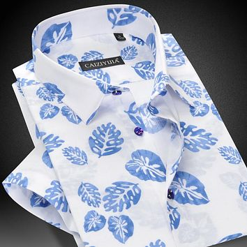 Summer Men's Short Sleeve Casual Leaves Print Shirt Square Collar Single Breasted Slim-fit Lightweight Cotton Men Shirts