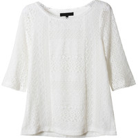 LE3NO Womens Lightweight Loose Fit Short Sleeve Crochet Top (CLEARANCE)