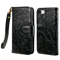 FLOVEME Black Luxury Flower Pattern Leather Stand Holder Flip Wallet Cover Case For iPhone 5 5s SE 6 6s 6 Plus 6s Plus 7 7 Plus