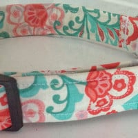 Red & Aqua  Summer Floral Collar for Girl Dog or Cat
