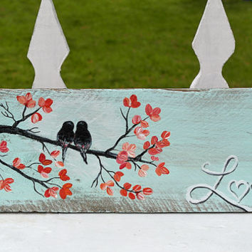 Rustic Pallet Country Wedding Shabby Chic Wedding Gift Engagement Anniversary Gift for Couple Mint and Coral Wedding Photo Prop Love Birds