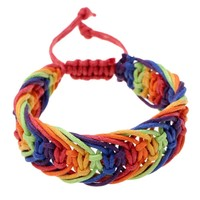 Gay Lesbian Rainbow Pride Wristband Braided Colorful Leather Cord Bracelet