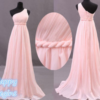 Pink Chiffon One Shoulder Long Prom Dress Bridesmaid Dress Evening Dress Formal dress