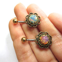 Glass Opal Flower Rose Daisy Belly Button Ring Navel Piercing Bronze Stud Bar Barbell Pink Blue