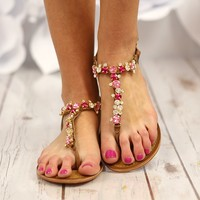 Bling Blang Pink Rhinestone Sandals by Naughty Monkey