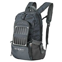 ECEEN® Solar Powered Hiking Daypacks with 3.25 Watts Solar Charger for Hiking, Travel, Backpacking, Biking, Camping - Folds Up into Carry Pouch - Power for Smart Cell Phones and More