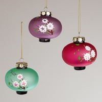 Frosted Glass Plum Lantern Ornaments,  Set of 3