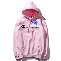 Champion New fashion letter print keep warm hooded couple long sleeve sweater top Pink