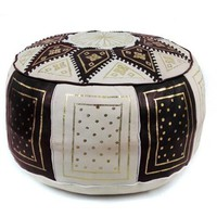 Black / Beige Fez Moroccan Leather Pouf Round Genuine Leather