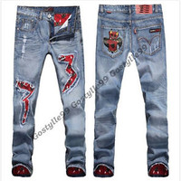 2016 New Mens Holey Vintage Stylish Straight slim Fit Jeans Pants Denim Trousers