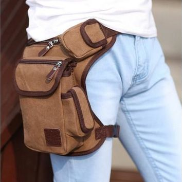 Multifunction Outdoor Cotton Sport Leg Bag Canvas Waist Bag Money Belt Fanny Pack [9302554314]