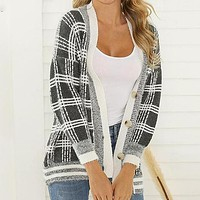 Women Warm Cardigans Fashion Plaid Blue Sweater Jackets Button Long Sleeve Vest Ladies Knitted Coats