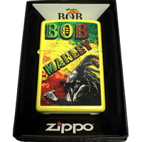 Zippo Custom Lighter - Bob Marley with Dreads and Rasta Colors - Regular Lemon Matte 24839CI401261