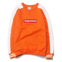 SUPREME Fashion Print Long Sleeve Cotton Top Sweater Pullover