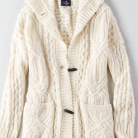 AEO Women's Cable Knit Toggle Cardigan