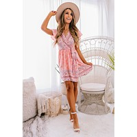Beautiful People Printed Wrap Dress (Coral)