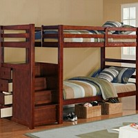 Espresso Finish Twin/Twin Bunk Bed With Built In Drawers In The Side Of Stairs